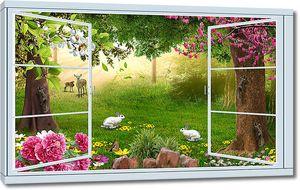 Полянка с животными из окна