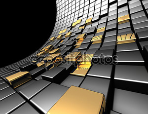 Абстрактные черно-золотые квадраты