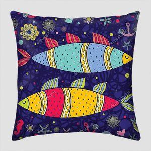 Цветной фон с большими рыбами