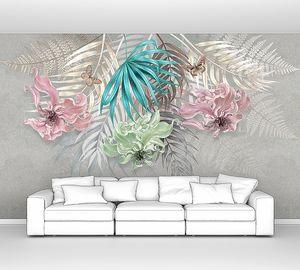 Три цветка с пальмовыми листьями