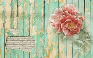 Цветок на рисованный на старом заборе