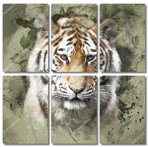 Портрет тигра в винтажном стиле