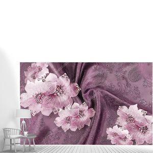 Темно-фиолетовый фон ткани, большие светлые абстрактные цветы