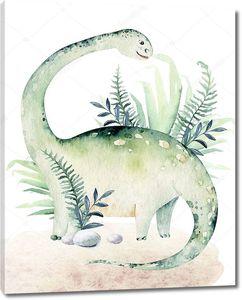 Акварельный динозаврик