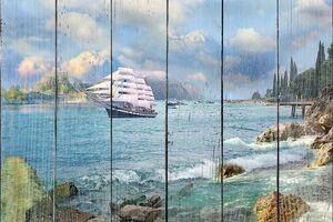 Парусный корабль приближающийся к берегу