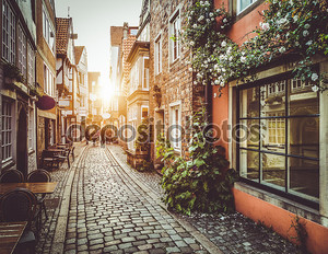 Старый город в Европе на закате