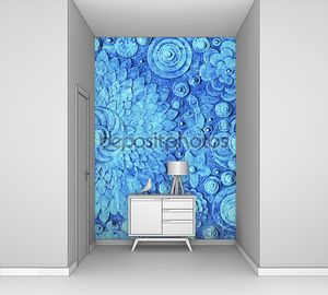 Hand painted blue floral background4