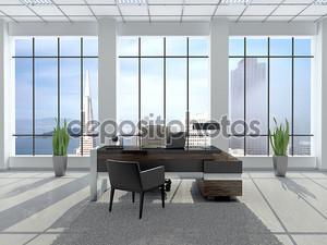 3D иллюстрации современного рабочего места в офисе с большой ветер