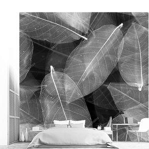 Бесшовные листья черно белый фон.