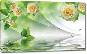 Розы в зеленой дымке