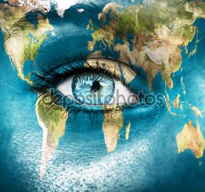 Планета Земля и синий глаз человека - «элементы этого изображения мебли