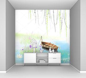 Пейзаж, лодка на озере, лилии