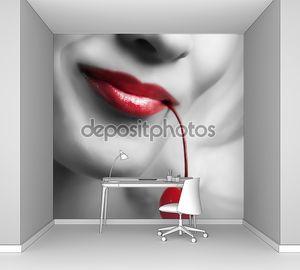 Сексуальные губы, держа вишня