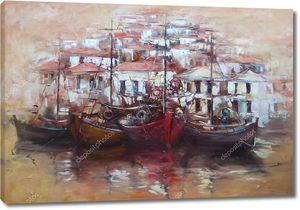 Лодки на острове гавань, ручной работы живопись