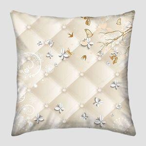 Бежевая обивка, птицы, белые бабочки  из бумаги
