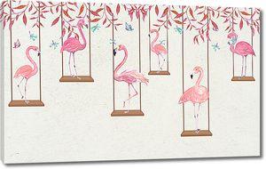 Фламинго на качелях