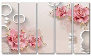 Розовые позолоченные бутоны роз с жемчугом