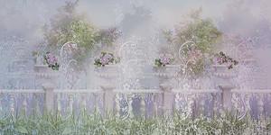 Нежный пейзаж с вазами и цветами