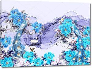 Абстрактные волны с голубыми цветами