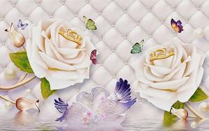 Две розы, лебеди, бабочки на обивке