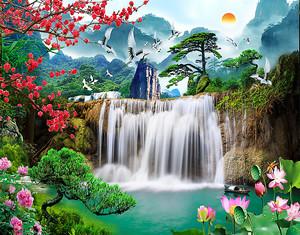 Сосны на водопаде