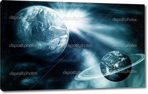 Вид пространства с двух планет