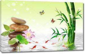 3d иллюстрация, светло-зеленый фон, зеленый бамбук, водяная лилия, гладкие камни, красные рыбы, две бабочки, отражение в воде