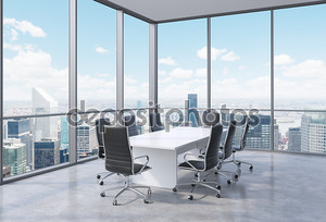 Panoramic conference room in modern office in New York City. Black chairs and a white table. 3D rendering.