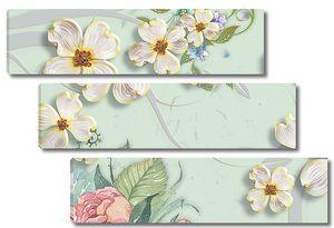 Белые цветы с розой в углу