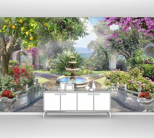 Невероятный сад с цветами и фонтаном