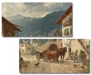 Повозка с лошадьми на улице города