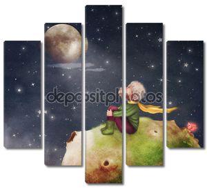 Маленький принц с Роуз на планете в красивом ночном небе