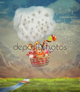Animals in the air balloon over green field in the sky
