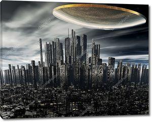 Космический корабль над ночным городом