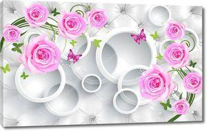 Обивка,  белые кольца и бутоны роз