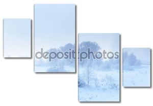 Зимний пейзаж. холодное зимнее утро