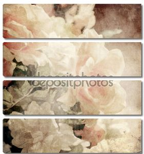 Искусство цветочный марочных сепия фон с белыми розами