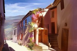 Солнечное утро в маленьком городке