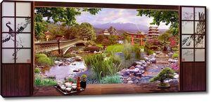 Вид с террасы на цветочный парк