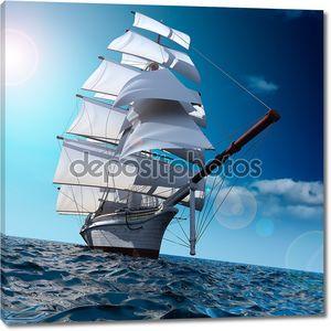 Парусник в море на всех парусах
