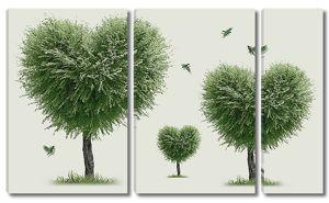 Деревья в форме сердец