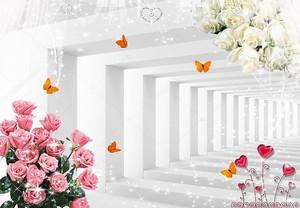 Белые и красные букеты роз на фоне тоннеля