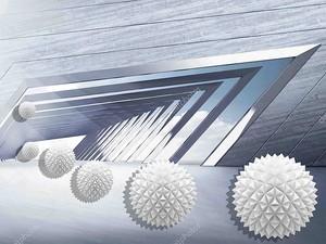 3D иллюстрации, серебряный фон, дерево и металл, углы, бумажные шары