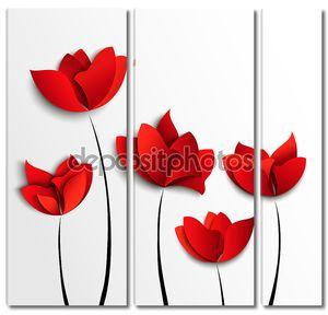 Красные бумажные цветы
