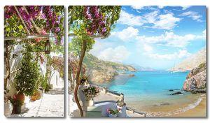 Вид с террасы на живописное побережье