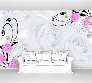 Фон из больших белых роз