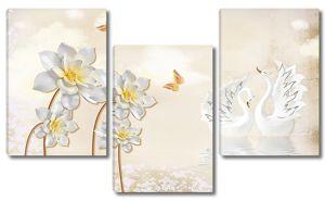 Статуэтки лебедей с цветками
