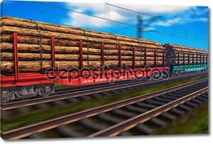 Грузовой поезд с пиломатериалов