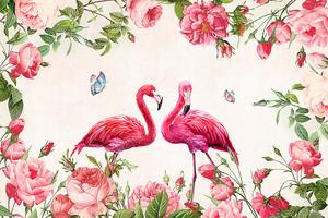 Розовые фламинго в розовых цветах