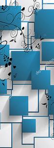 Выпуклые синие квадраты